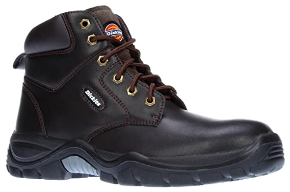 Dickies Newark Safety Hiker Boot, Leather Upper, Steel Toe Black FREE SOCKS