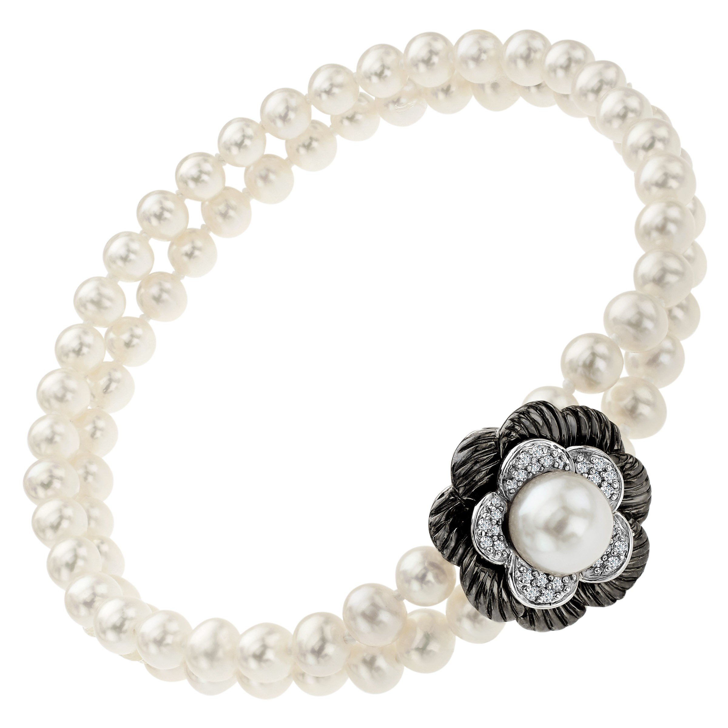 Freshwater Cultured Pearl and 1/8 ct Diamond Flower Bead Bracelet in Sterling Silver