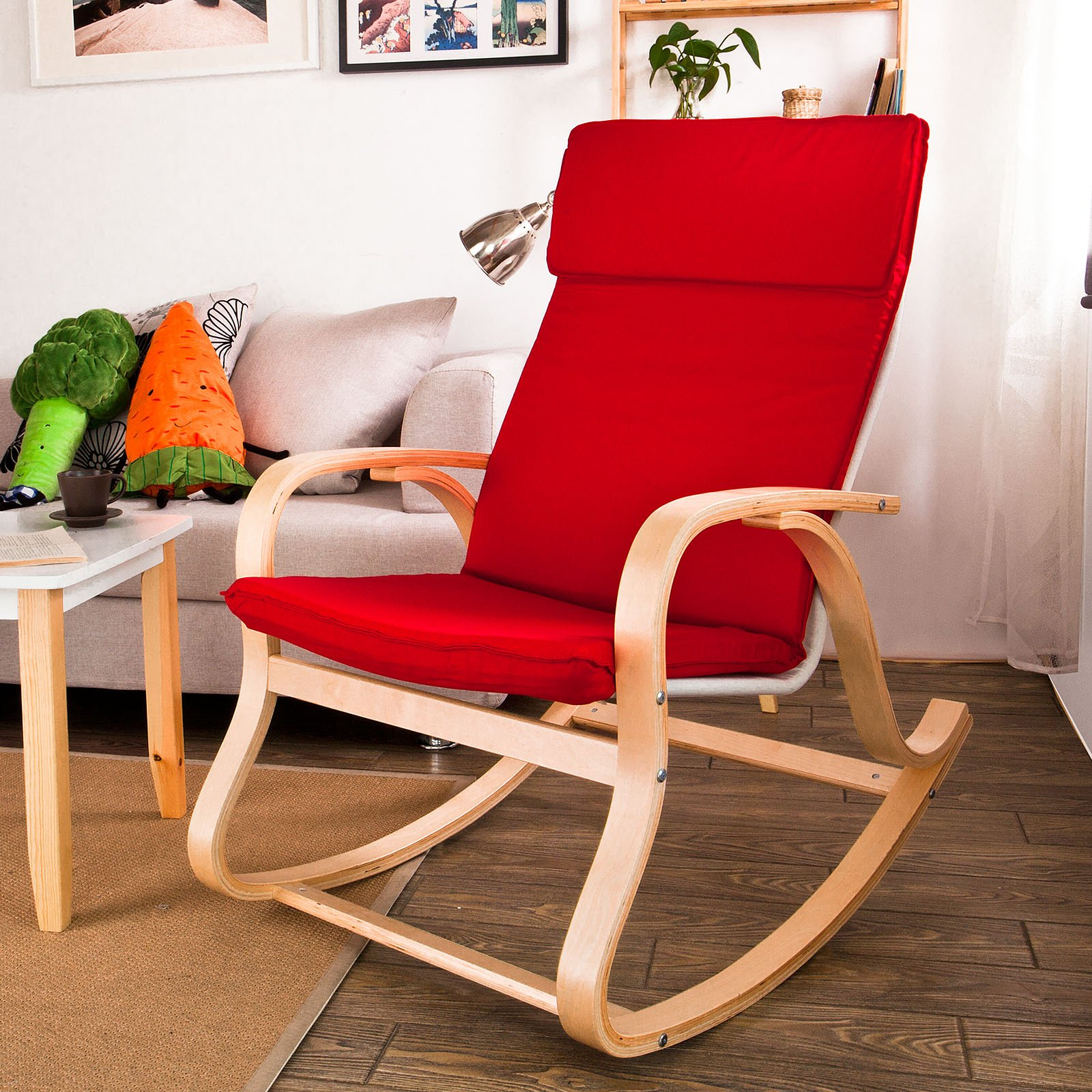 Haotian FST15-R, Comfortable Relax Rocking Chair, Lounge Chair Relax Chair with Cotton Fabric Cushion …