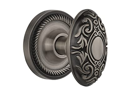 Nostalgic Warehouse Rope Rosette With Victorian Knob, Privacy    2.375u0026quot;, Antique Pewter