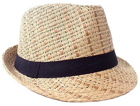 498658470af Verabella Straw Fedora Hat Women/Men's Summer Short Brim Straw Hat,Brown,SM