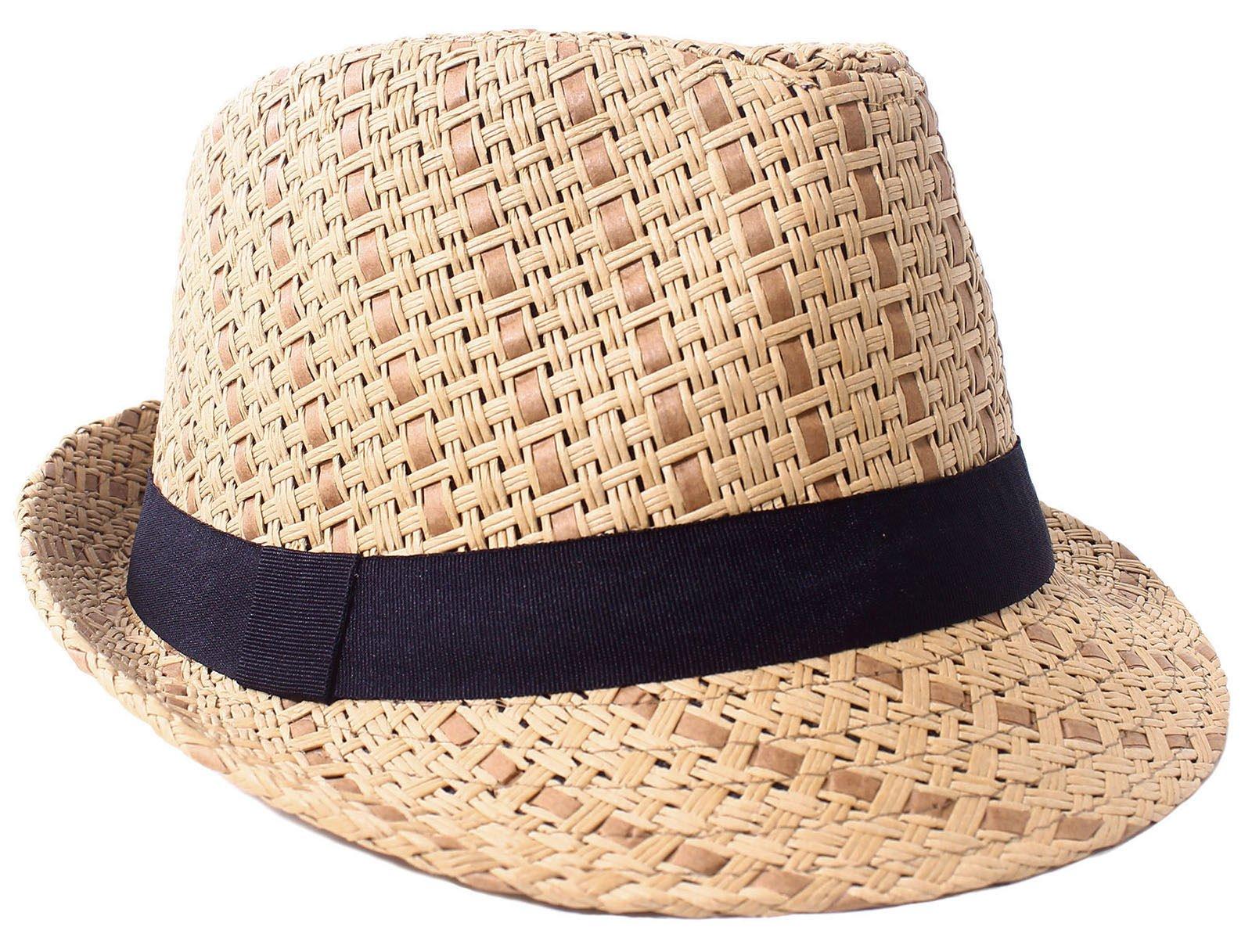 Verabella Straw Fedora Hat Women/Men's Summer Short Brim Straw Sun Hat,Brown,LXL