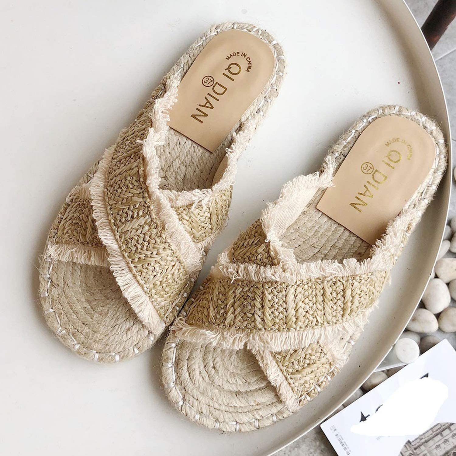 Bohemia Style Vintage Women Summer Slippers Beaded Straw Woven Female Fisherman Shoes Fashion Slippers Flat