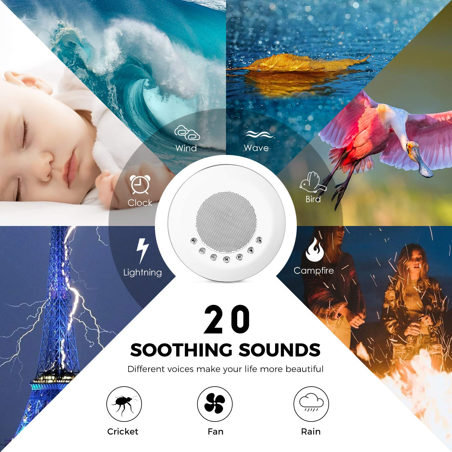 Sound Machine - White Noise Machine for Sleeping, with LED Colorful Night Light 20 Soothing HiFi Sounds, Continuous or Timer, Rechargeable Battery or USB Output Charger by EliveBuy (Image #2)