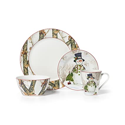 Mossy Oak 16-Piece Break-Up Infinity Dinnerware Set Holiday Snowman  sc 1 st  Amazon.com : holiday dinnerware sets - pezcame.com