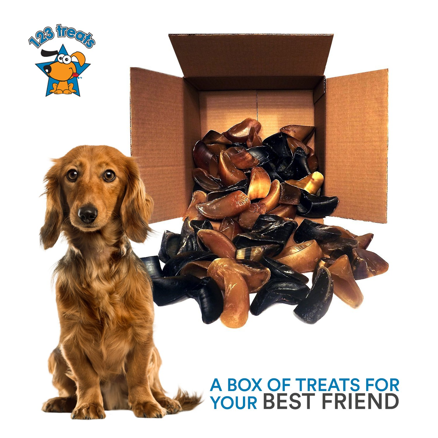 123 Treats | Hooves for Dogs (25 Count) 100% Natural Long-lasting Dental Dog Chews Made from Beef Hoof | From Free Range, Grass Fed Cattle with NO additives, coloring or chemicals by 123 Treats (Image #6)
