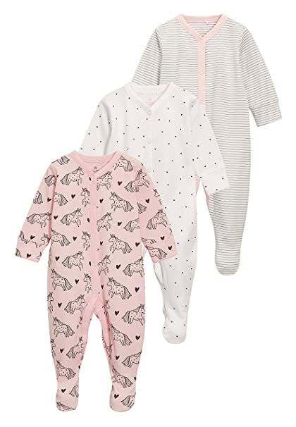 next Bebé-Niñas Pack De Tres Pijamas Tipo Pelele con Estampado De Unicornios (0