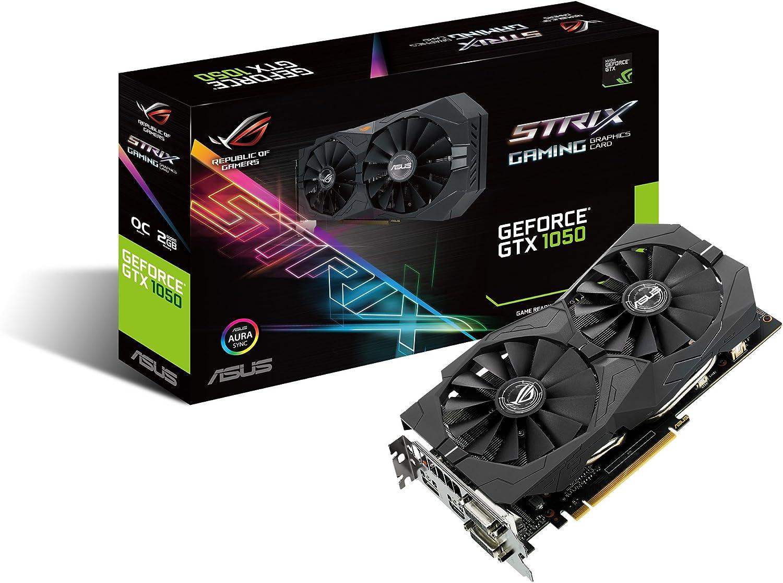 Asus ROG-STRIX-GTX1050-O2G-GAMING Scheda Grafica OCエディション、Geforce GTX1050、2 GB GDDR5 con Asusオーラシンク、4K