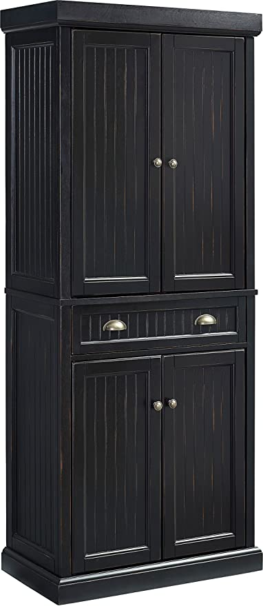Amazon Com Crosley Furniture Seaside Kitchen Pantry Cabinet Distressed Black Furniture Decor