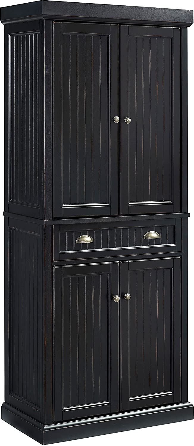 Crosley Furniture Seaside Kitchen Pantry Cabinet - Distressed Black