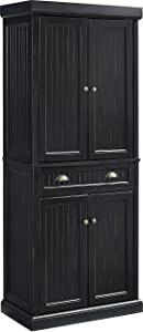 Crosley Furniture Seaside Kitchen Pantry Cabinet - Distressed Black