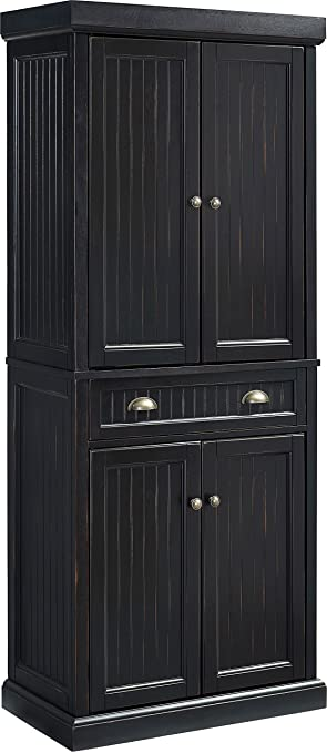 Crosley Furniture Seaside Kitchen Pantry Cabinet   Distressed Black