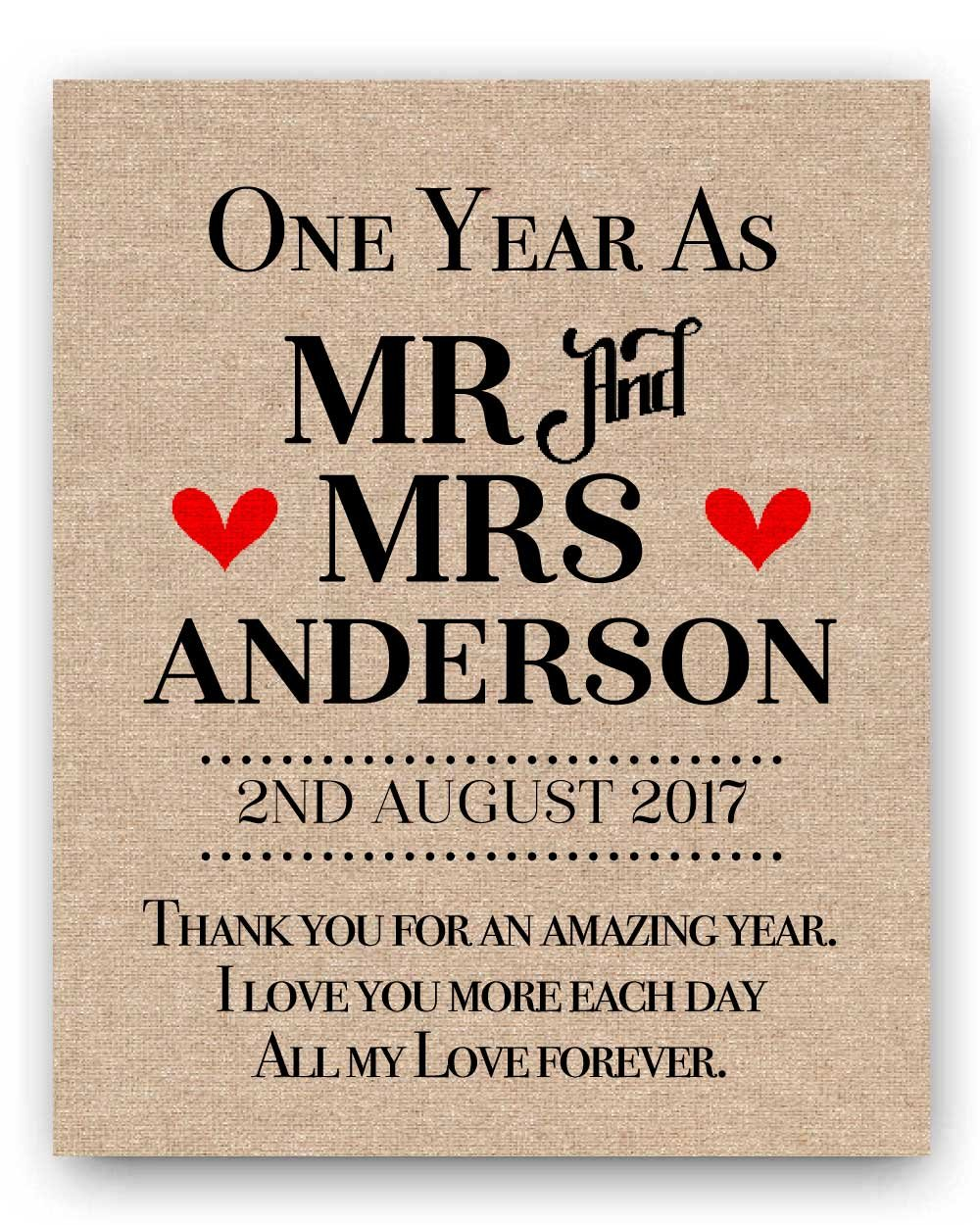 First Wedding Anniversary.Personalized Burlap Or Cotton First Wedding Anniversary Gifts 1st