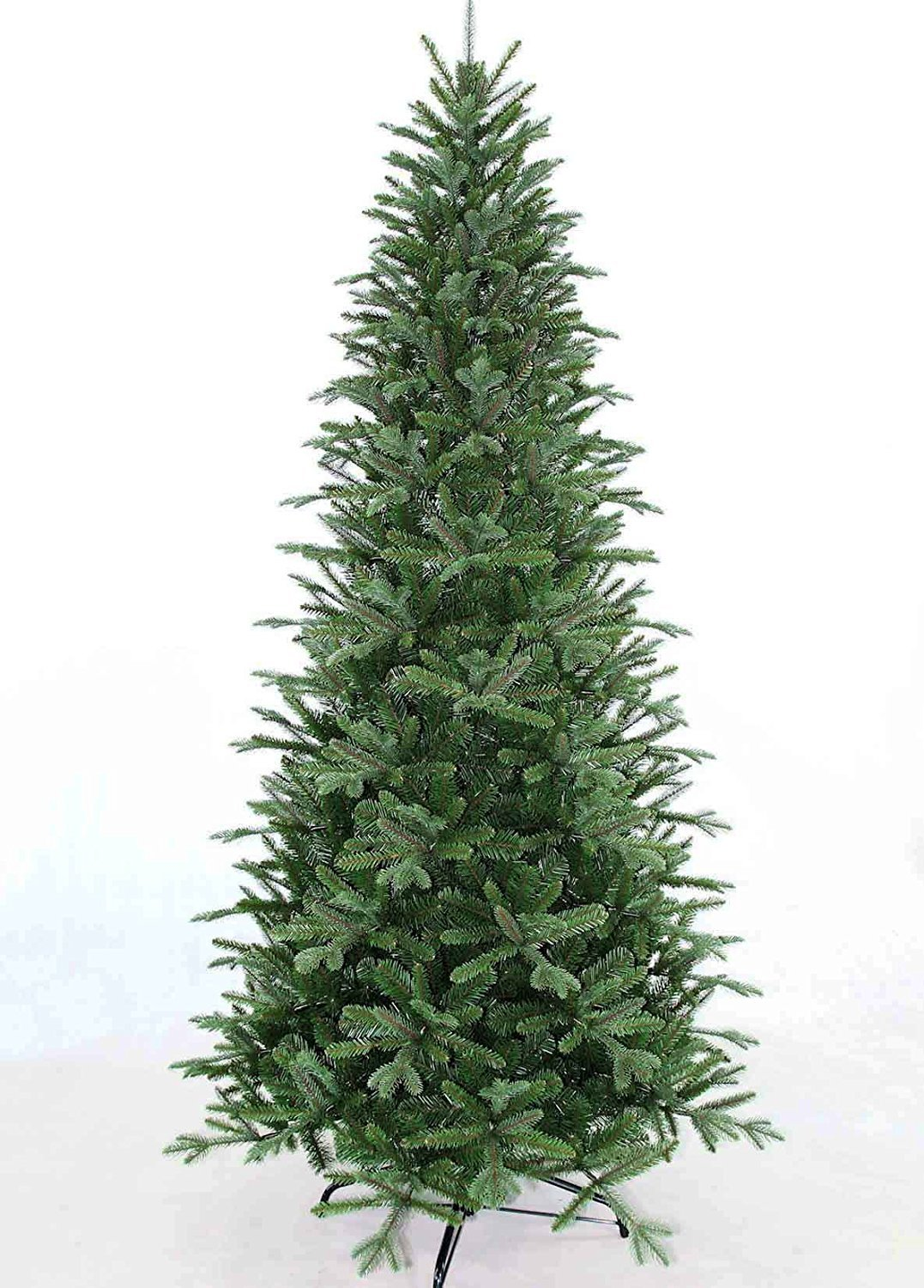 7.5' Slim Fir Quick-Shape Christmas Tree with 600 Multi Color Lights-UL with Power-Pole System Includes Rotating Stand