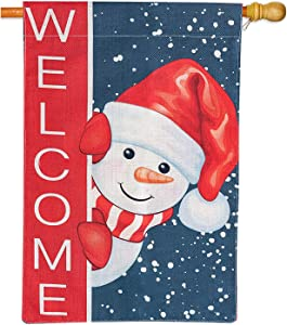 JYW Snowman Welcome Christmas Flags, Double Sided Winter Xmas House Flag, Smile Snowman with Red Scarf Burlap Flag for Christmas Holiday Seasonal Décor, 12x18 Inch