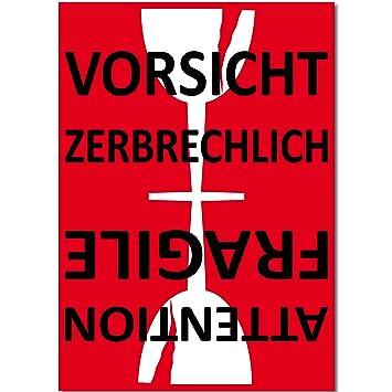 15cm Aufkleber Sticker Etiketten Label Vorsicht Glas