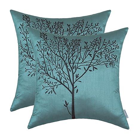 CaliTime - 2 fundas de cojín para sofá, con bordado de árbol ...