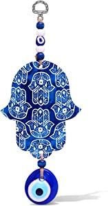 Alef Bet by Paula Blue Hamsa Hand Wall Hanging Decor With Evil Eye for Home, Office, or House Warming Gift for Protection, Blessings and Peace for Loved Ones