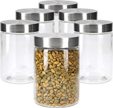 MamboCat Bera 11 cm de di/ámetro, 1,2 L, latas de cristal rellenables Juego de 6 tarros de cristal con tapa de acero inoxidable color plateado