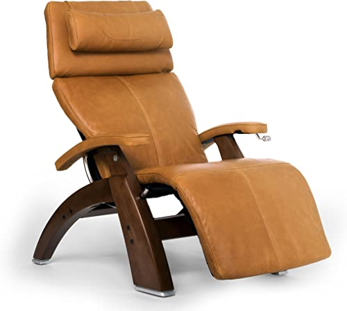 Perfect Chair Human Touch PC-420 Classic Manual Plus Series 2 Walnut Wood Base Zero-Gravity Recliner – Sycamore Premium Leather – in-Home White Glove Delivery