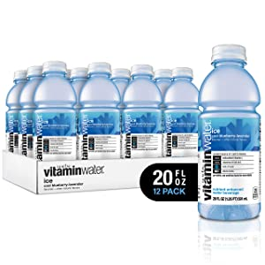 vitaminwater electrolyte enhanced water w/ vitamins, ice cool blueberry-lavender, 20 fl. oz (Pack of 12)