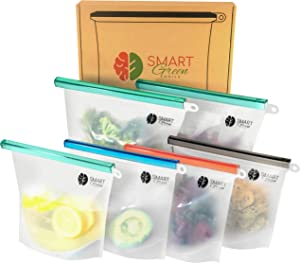 Reusable Silicone Food Storage Bags, Sandwich Bag, Ziplock Containers for Snack, Sous Vide, Meal Prep/Preservation, 100% LeakProof, Microwave/Freezer/Dishwasher Safe,(2x Large 50oz,4x Medium 30oz)