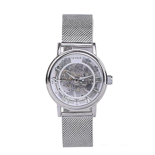 Weimob Hombres Reloj Movimiento de Mecánico de Cuerda Manual Banda de Malla Milanese Casual Esqueleto Transparente Steampunk Reloj Wrist Watch: Amazon.es: ...