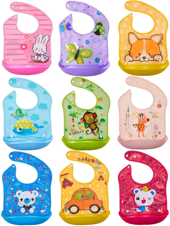 9 Pieces Baby Bibs with Plastic Food Catcher Adjustable Reusable Feeding Bibs Removable Waterproof Infant Bibs Suitable for Babies Toddlers Kids