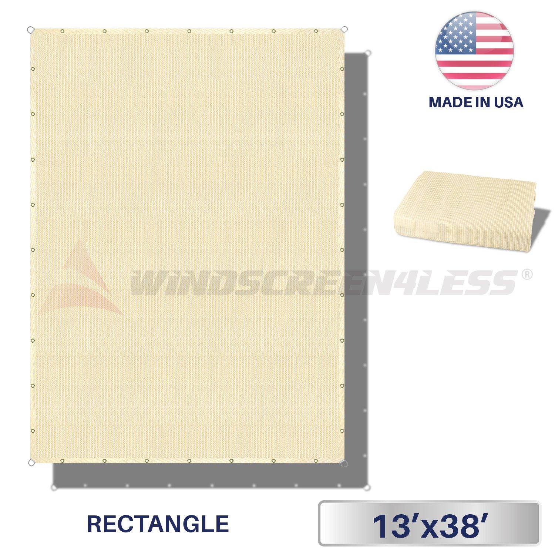 Windscreen4less Straight Edge Sun Shade Sail,Rectangle Outdoor Shade Cloth Pergola Cover UV Block Fabric 180GSM - Custom Size Beige 13' X 38'