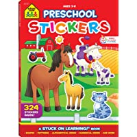 School Zone - Preschool Stickers Workbook - Ages 3 to 6, Preschool to Kindergarten, Shapes, Patterns, ABC's, Numbers, and Letters (School Zone Stuck on Learning® Book Series)
