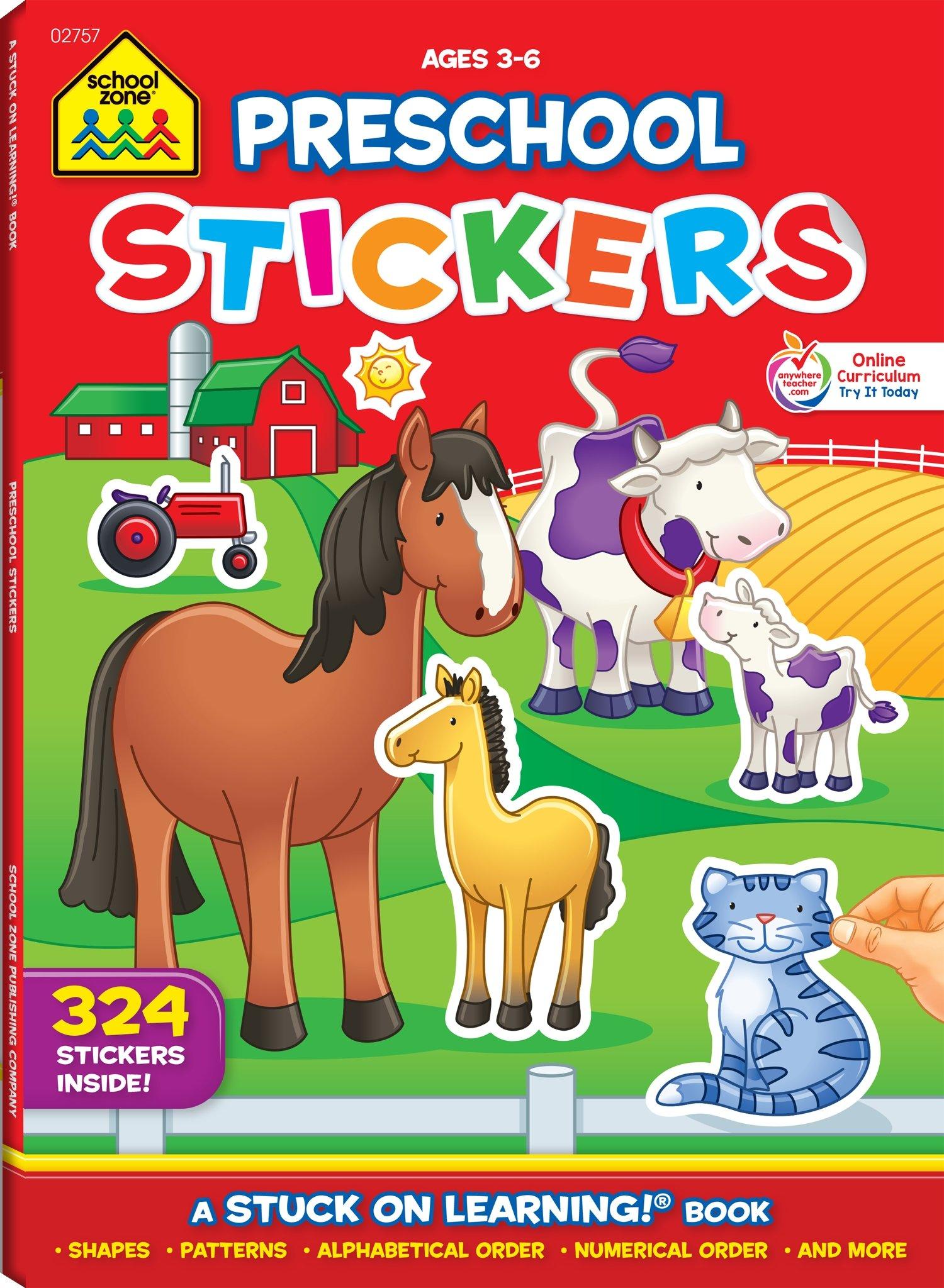 Amazon.com: School Zone - Preschool Stickers Workbook - Ages 3 to 6 ...