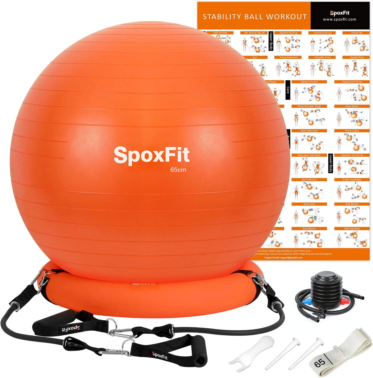 SpoxFit Exercise Ball Chair with Resistance Bands, Perfect for Office, Yoga, Balance, Fitness, Super Strong Holds 660lbs. Set Includes Stable Base, Workout Poster, Pump, Home Gym Bundle-65cm