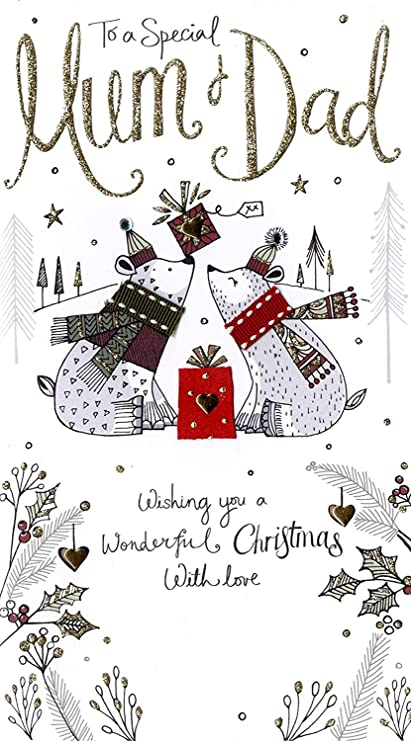 Mum /& Dad Embellished Christmas Card Hand-Finished Champagne Range Cards