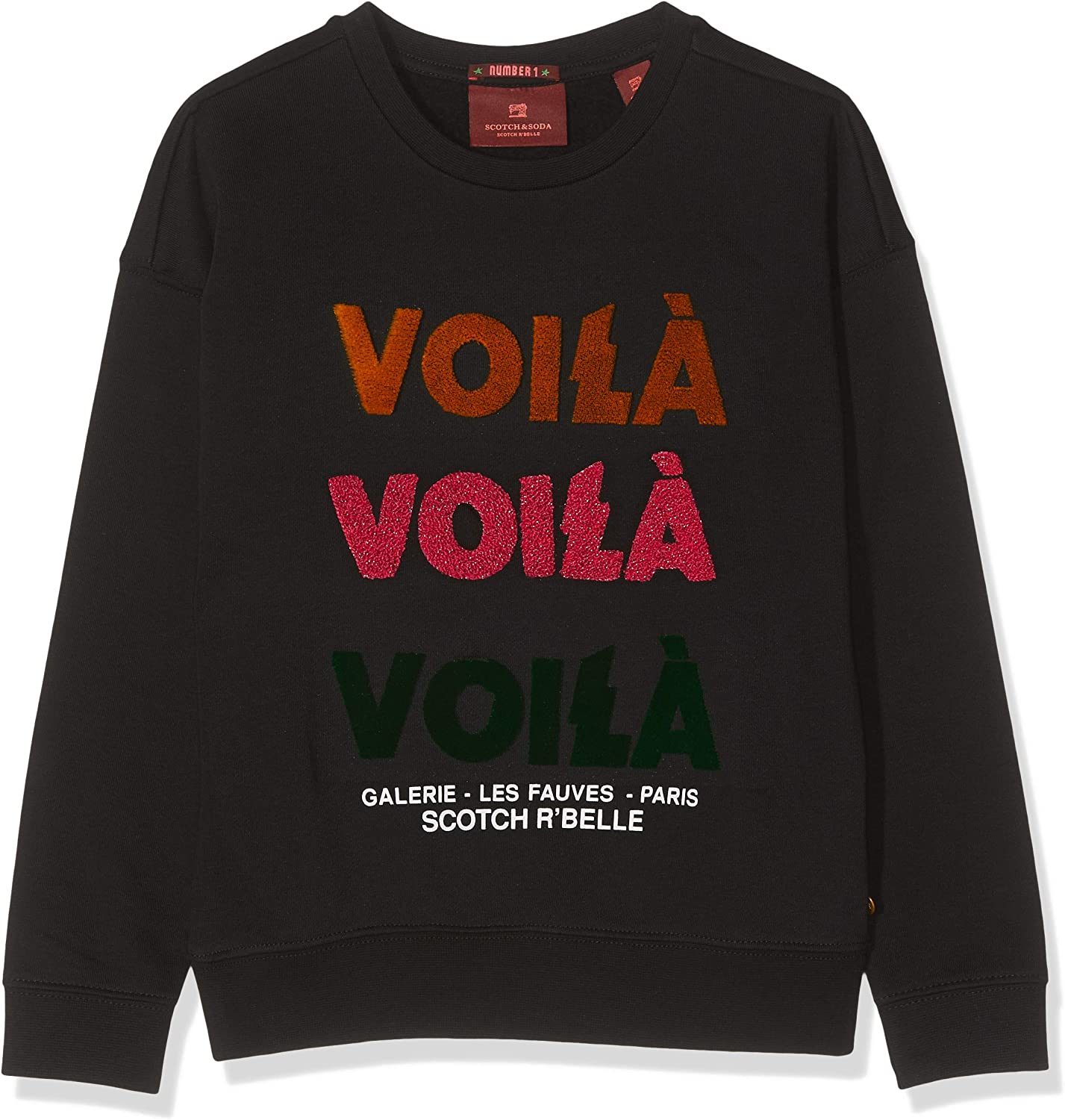 Scotch /& Soda Crew Neck Sweat with Work Out Artwork Shirt Fille