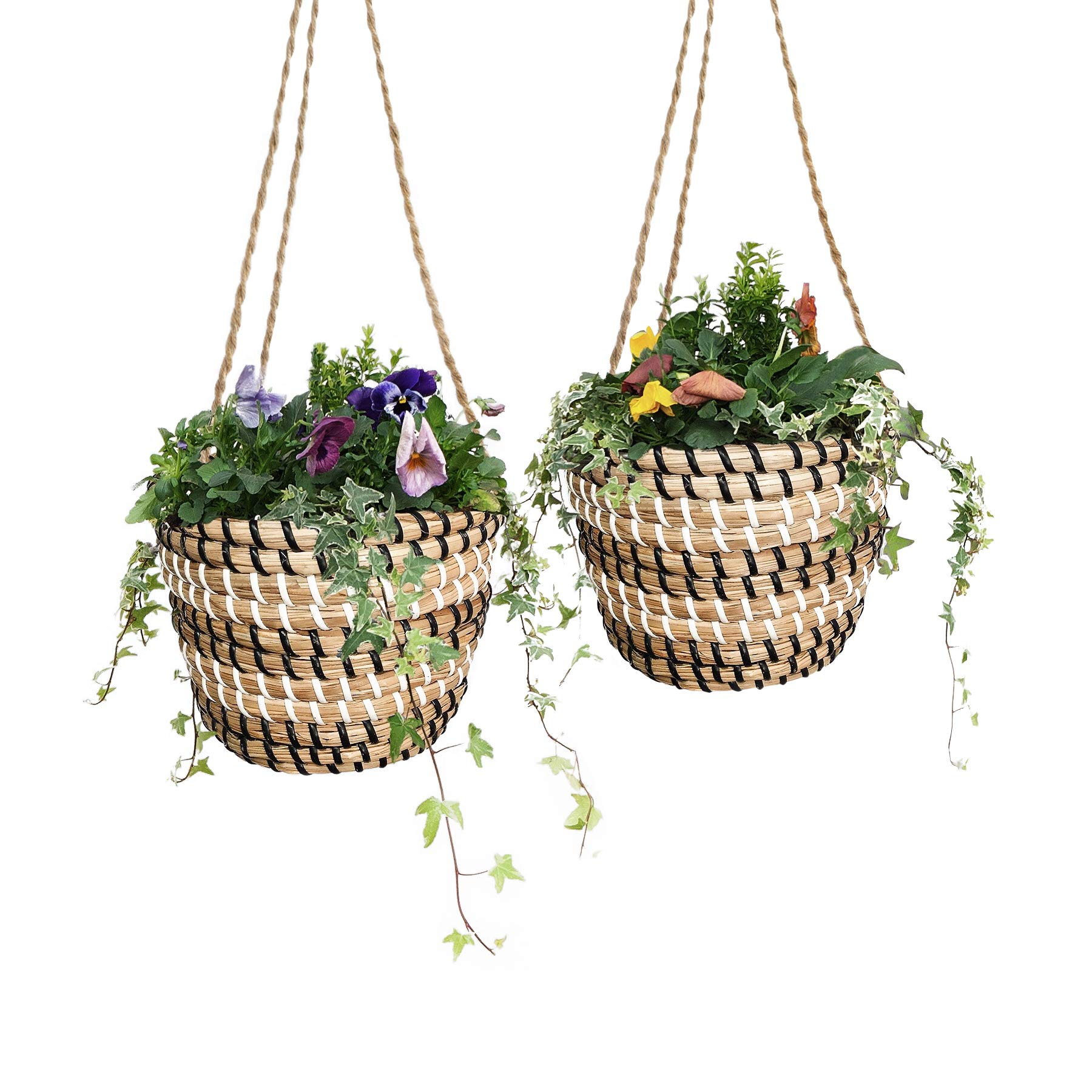 Fauxliage Natural Hanging Planters 2pcs. Indoor Handmade Plant Pot Set for Rustic, Boho Decor. Seagrass Flower Pot for Cacti or Succulents 7''