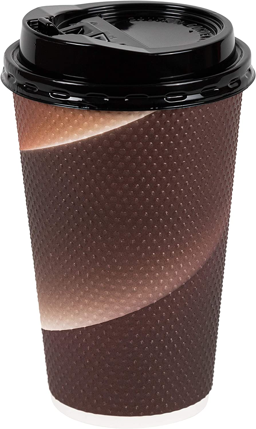 [32 Sets - 16 oz.] Insulated Textured Double Wall Paper Hot Coffee Cups With Lids, Brown
