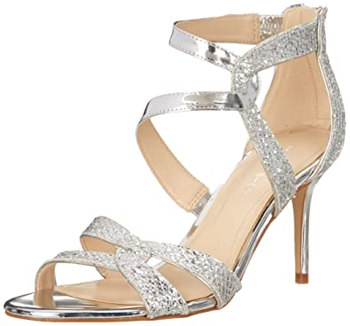 Marc Fisher Womens Lexcie2 Open Toe Special Occasion Silver Glitter Size 9.5 p