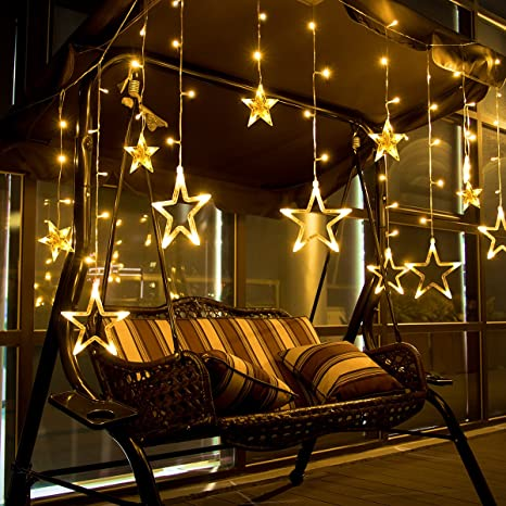 Star Curtain Lights 12 Stars 138 LEDs, LEORX Window Curtain Lights ...