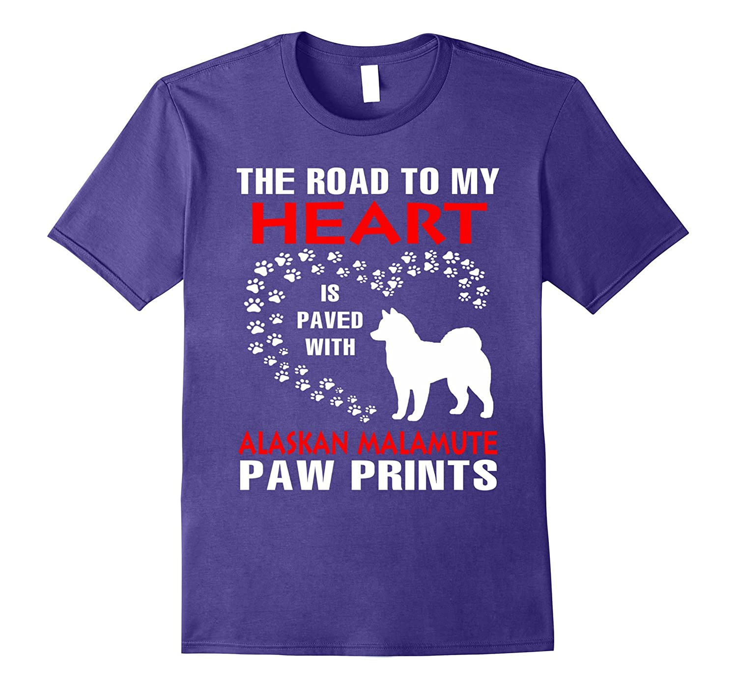 My Heart Is Paved With Alaskan Malamute Paws Print Shirt-Art