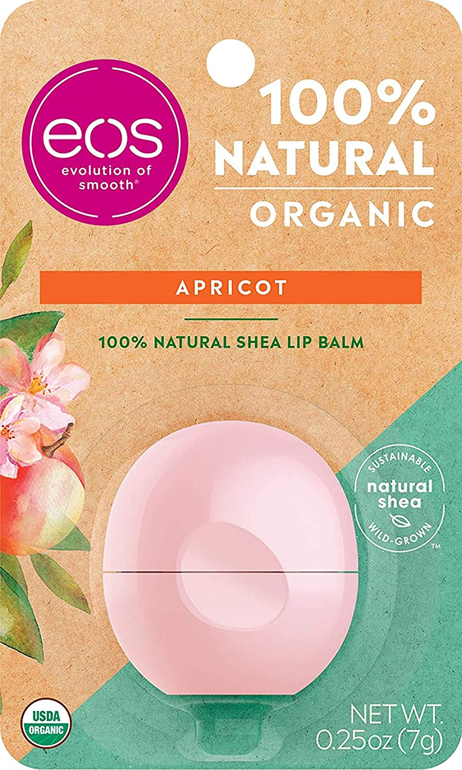 eos Natural & Organic Sphere Lip Balm - Apricot | Certified Organic & 100% Natural | Deeply Hydrates and Seals in Moisture | 0.25 oz