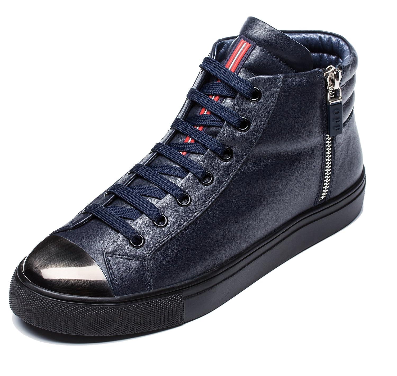 OPP Herren Leder Stiefeletten Boots Schuhe Schnürstiefeletten Blau 1