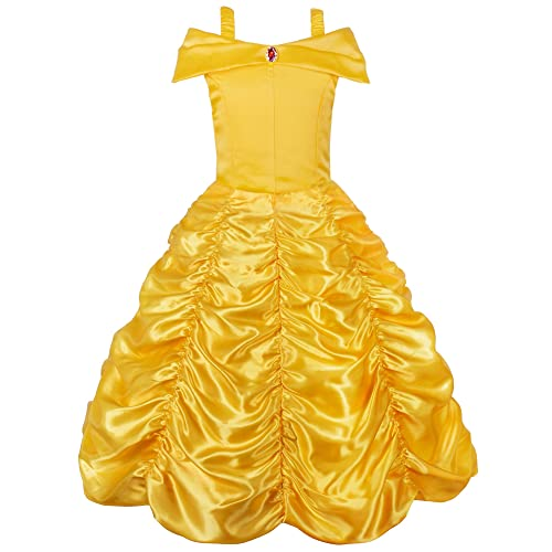 JerrisApparel Princess Belle Off Shoulder Layered Costume Dress for Little Girl