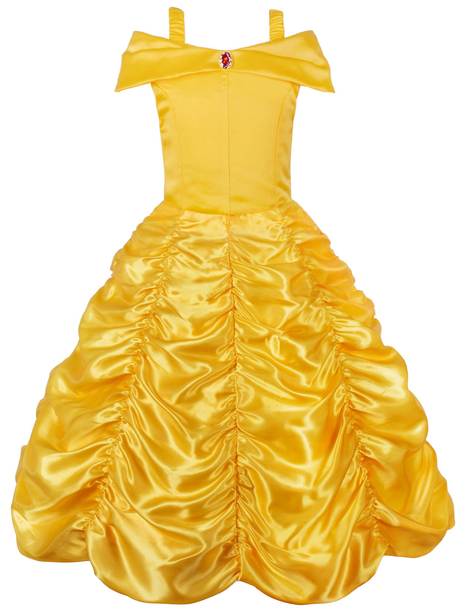 JerrisApparel Princess Belle Off Shoulder Layered Costume Dress for Little Girl (3 Years, Yellow)