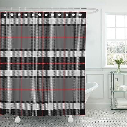 Amazon Com Emvency Shower Curtain Red Plaid Scottish Tartan
