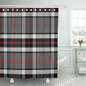 Amazon Emvency Shower Curtain Red Plaid Scottish Tartan Tompson Black Gray And White Abstract Waterproof Polyester Fabric 72 X Inches Set With