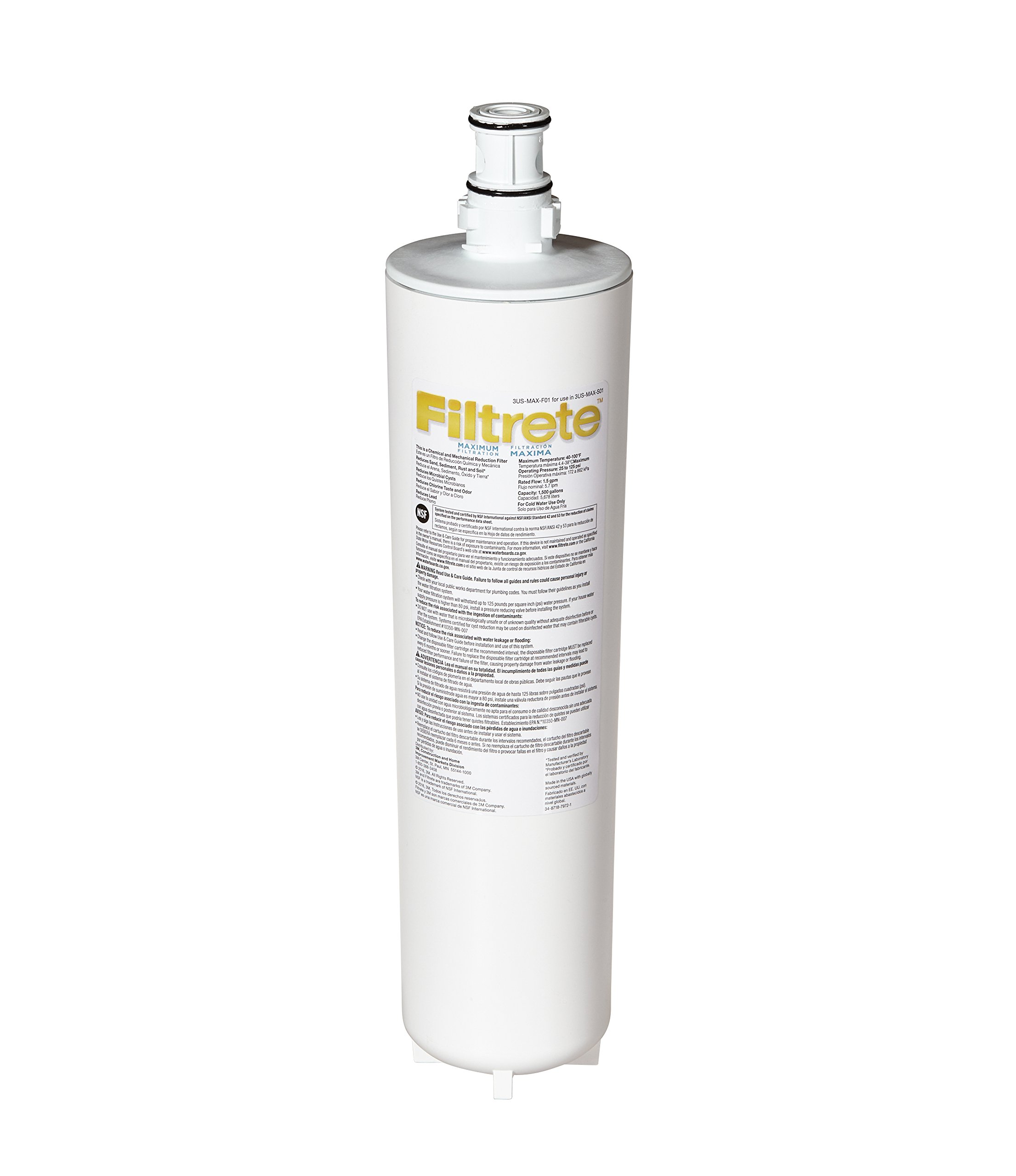Filtrete Maximum Under Sink Water Filtration Filter, Reduces 99% Lead + Much More (3US-MAX-F01) by Filtrete