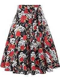 Belle Poque Women's High Waist A-Line Pockets Skirt Skater Pleated Midi Skirt