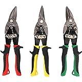 Hurricane 10 Inch Aviation Tin Snips Set Straight Left and Right 3 Pack Chrome Vanadium Steel