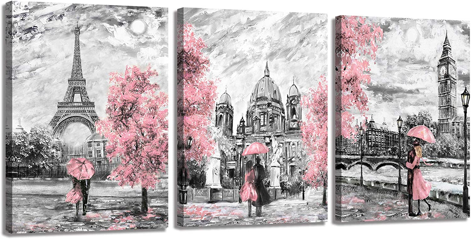 Retro Pink Wall Art-Romance Paris Theme Rainy Eiffel Tower,Big Ben,Sophia Cathedral-Lovers Holding Pink Umbrellas Oil Painting Prints on Black and White Canvas-Wall Decor for Bedroom Living Room 16x12in 3 Panels