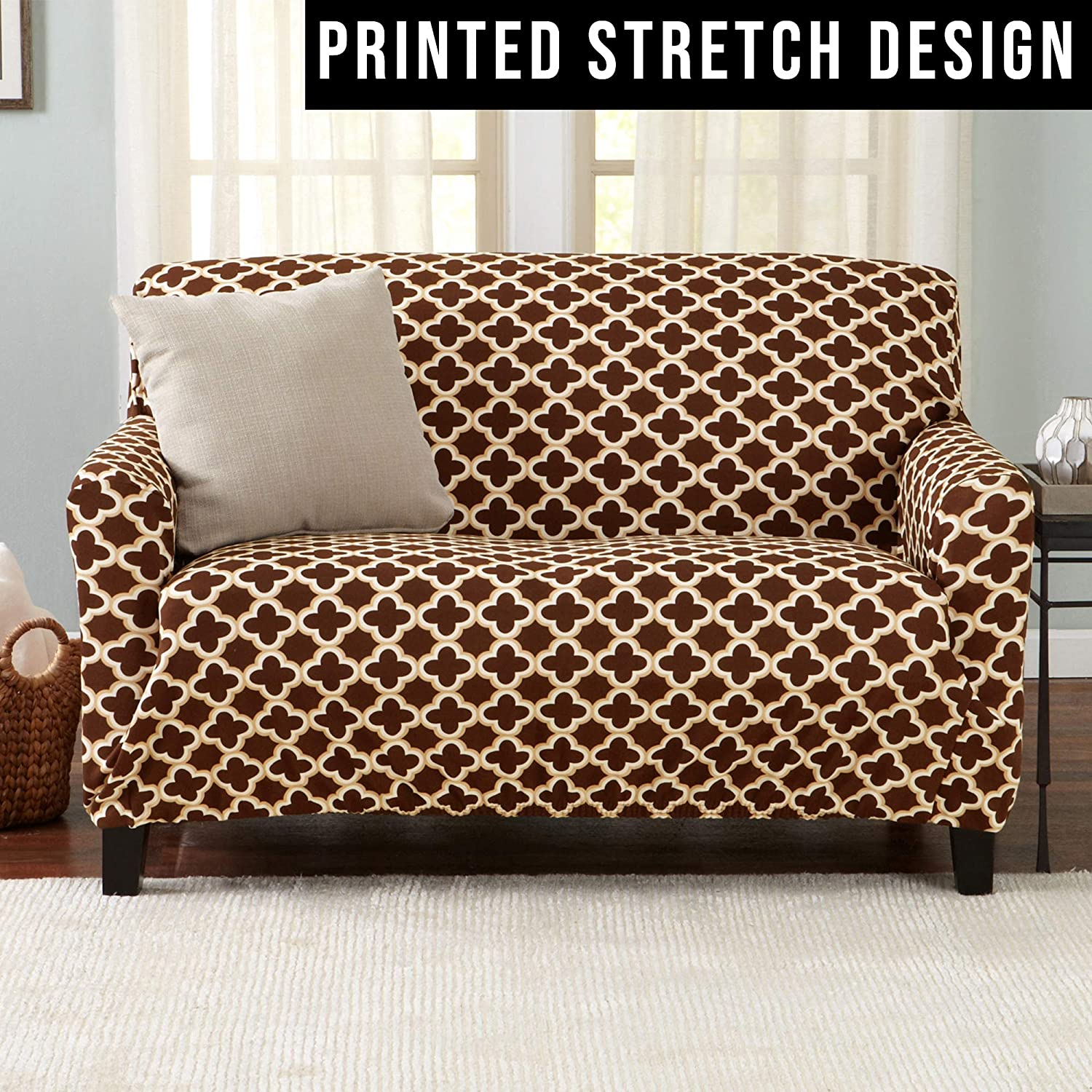 Brenna Collection Slipcover./ Strapless Love Seat Cover for Living Room Love Seat, Smoke Blue Home Fashion Designs Printed Twill Love Seat Slipcover One Piece Stretch Loveseat Cover